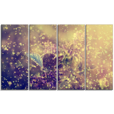 Designart Blue Butterfly And Purple Flowers CanvasArt Print - 4 Panels