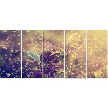 Design Art Blue Butterfly And Purple Flowers Canvas Art Print - 5 Panels