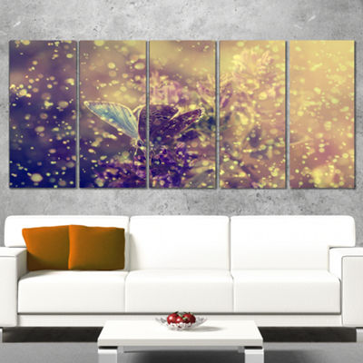 Designart Blue Butterfly And Purple Flowers CanvasArt Print - 5 Panels