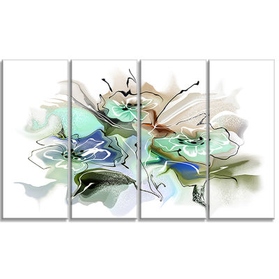Designart Textured Floral Watercolor Canvas WallArt - 4 Panels