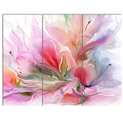 Design Art Lovely Painted Floral Design Canvas Wall Art - 3 Panels