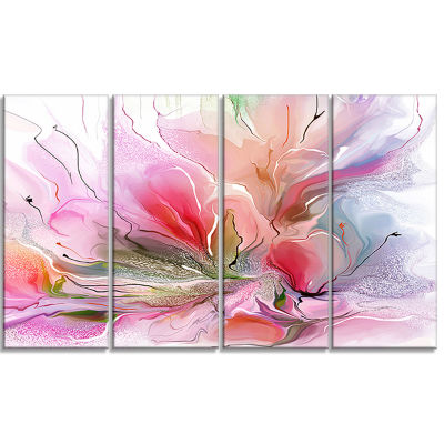 Designart Lovely Painted Floral Design Canvas Wall Art - 4 Panels