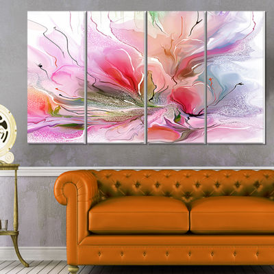Designart Lovely Painted Floral Design Canvas WallArt - 4 Panels