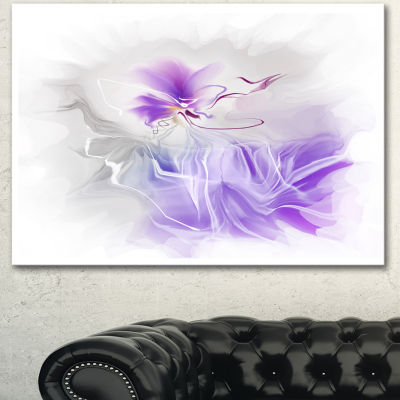 Designart Abstract Painted Blue Floral Design Canvas Wall Art