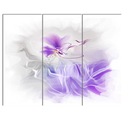 Designart Abstract Painted Blue Floral Design Canvas Wall Art - 3 Panels