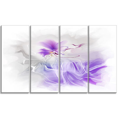 Design Art Abstract Painted Blue Floral Design Canvas Wall Art - 4 Panels