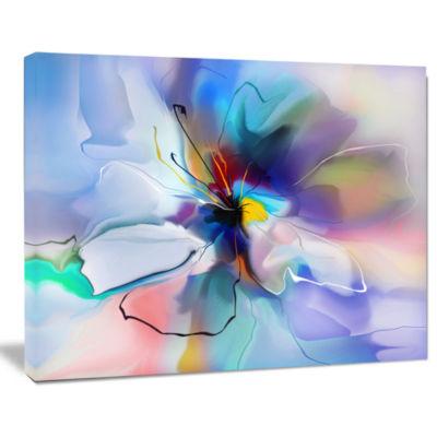 Designart Abstract Creative Blue Flower Canvas Wall Art