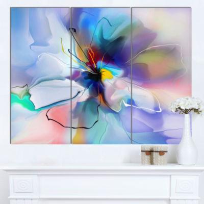 Designart Abstract Creative Blue Flower Canvas Wall Art - 3 Panels