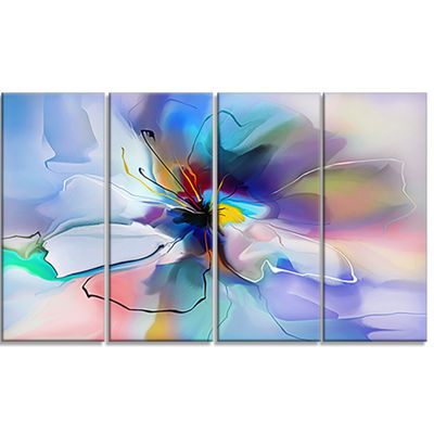 Designart Abstract Creative Blue Flower Canvas Wall Art - 4 Panels