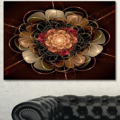 Design Art Dark Gold Red Fractal Flower Pattern Canvas Wall Art