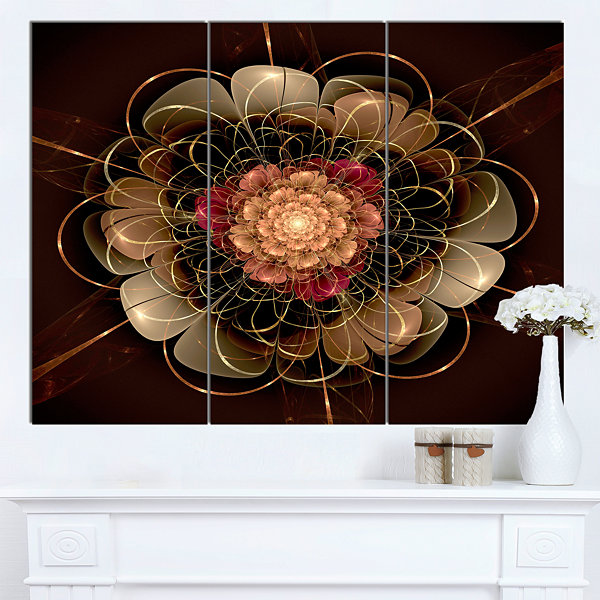 Design Art Dark Gold Red Fractal Flower Pattern Canvas Wall Art - 3 Panels