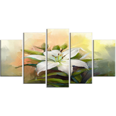Designart White Lily Flower Oil Painting (373) Canvas Art Print - 5 Panels
