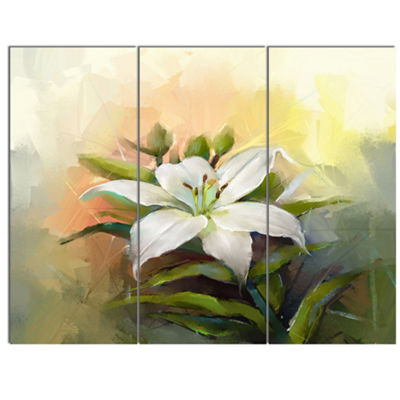 Designart White Lily Flower Oil Painting Canvas Art Print - 3 Panels