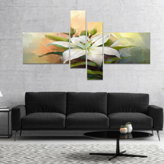Designart White Lily Flower Oil Painting Canvas Art Print - 4 Panels