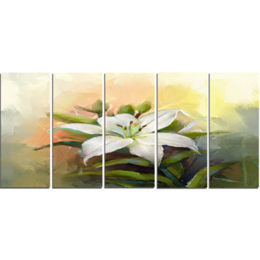 Designart White Lily Flower Oil Painting Canvas Art Print - 5 Panels