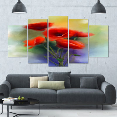 Designart Watercolor Red Poppy Flowers Painting (373) Canvas Art Print - 5 Panels