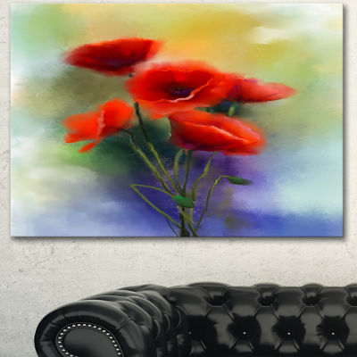 Designart Watercolor Red Poppy Flowers Painting Canvas Art Print
