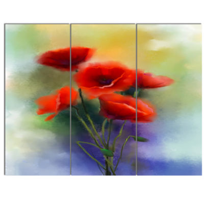 Design Art Watercolor Red Poppy Flowers Painting Canvas Art Print - 3 Panels