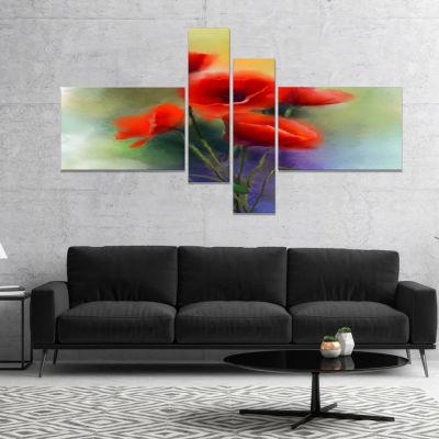 Design Art Watercolor Red Poppy Flowers Painting Canvas Art Print - 4 Panels
