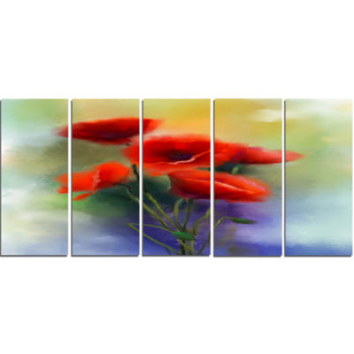 Design Art Watercolor Red Poppy Flowers Painting Canvas Art Print - 5 Panels