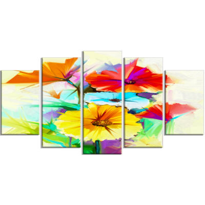 Designart Colorful Gerbera Flower Sketch On White(373) Canvas Art Print - 5 Panels