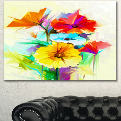 Design Art Colorful Gerbera Flower Sketch On White Canvas Art Print