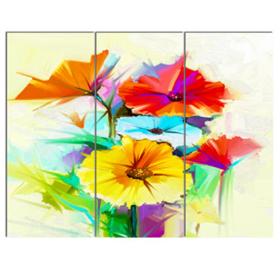 Design Art Colorful Gerbera Flower Sketch On White Canvas Art Print - 3 Panels