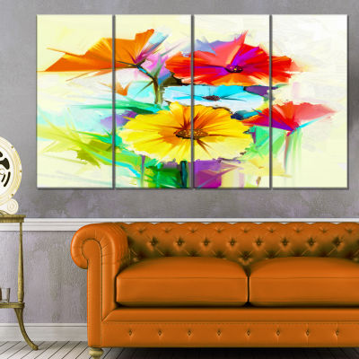 Designart Colorful Gerbera Flower Sketch On WhiteCanvas Art Print - 4 Panels