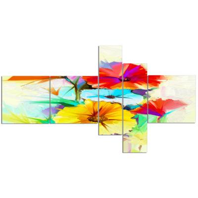 Designart Colorful Gerbera Flower Sketch On WhiteCanvas Art Print - 5 Panels
