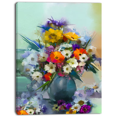Designart Hand Painted Bunch Of Small Flowers Canvas Art Print