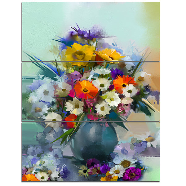 Designart Hand Painted Bunch Of Small Flowers Canvas Art Print - 3 Panels