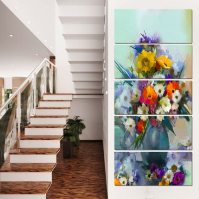 Design Art Hand Painted Bunch Of Small Flowers Canvas Art Print - 5 Panels