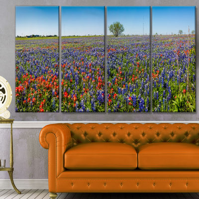 Design Art Texas Wildflowers Field Landscape CanvasArt Print - 4 Panels
