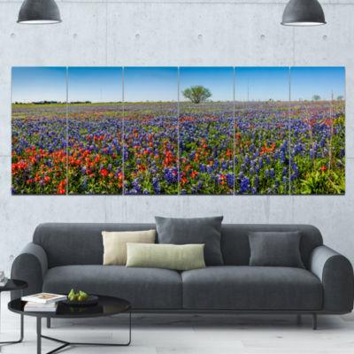 Designart Texas Wildflowers Field Landscape Canvas Art Print - 6 Panels
