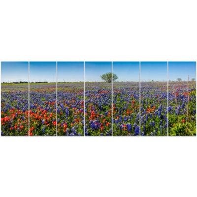 Design Art Texas Wildflowers Field Landscape Canvas Art Print - 7 Panels