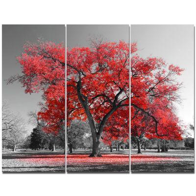 Design Art Big Red Tree On Foggy Day Landscape Canvas Art Print - 3 Panels