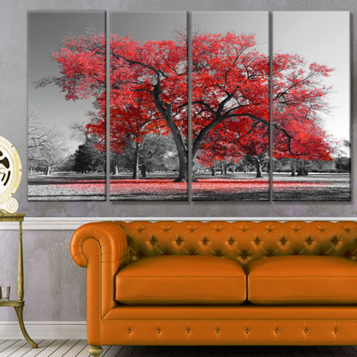 Designart Big Red Tree On Foggy Day Landscape Canvas Art Print - 4 Panels