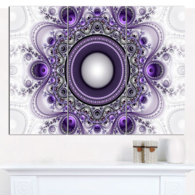 Design Art Purple Fractal Pattern With Circles Abstract Canvas Art Print - 3 Panels