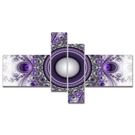 Designart Purple Fractal Pattern With Circles Abstract Canvas Art Print - 4 Panels