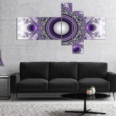 Designart Purple Fractal Pattern With Circles Abstract Canvas Art Print - 5 Panels