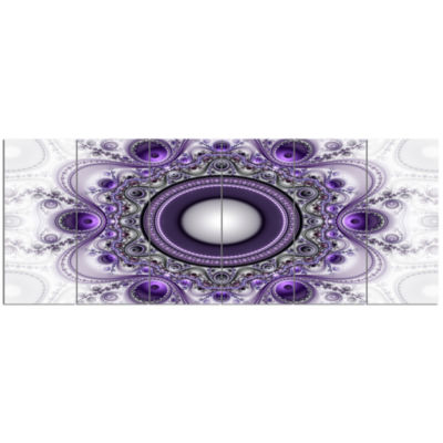 Designart Purple Fractal Pattern With Circles Abstract Canvas Art Print - 6 Panels