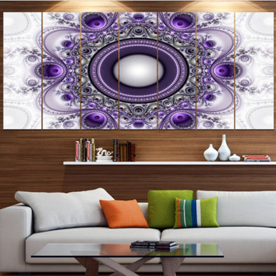 Designart Purple Fractal Pattern With Circles Abstract Canvas Art Print - 7 Panels