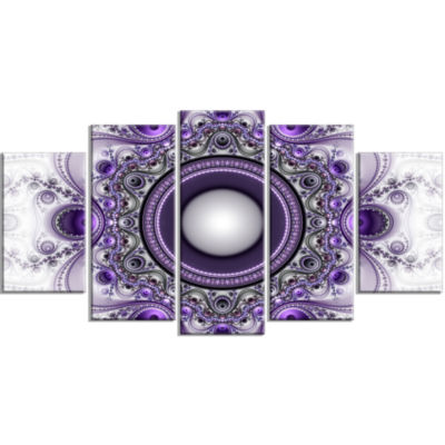 Designart Purple Fractal Pattern With Circles Contemporary Canvas Art Print - 5 Panels