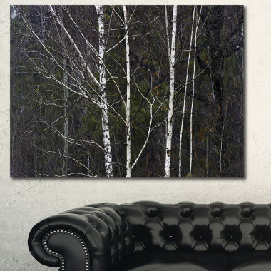 Designart Black And White Birch Forest Abstract Wall Art Canvas