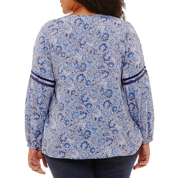 St. John's Bay Long Sleeve Peasant Top with Trim-Plus