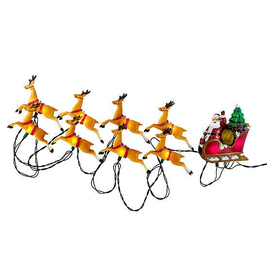 Kurt Adler Santa Sleigh and Eight Reindeer Light Set