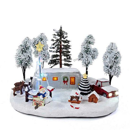 """Kurt Adler 12"""" Battery-Operated Musical LED Lighted Christmas Scene"""