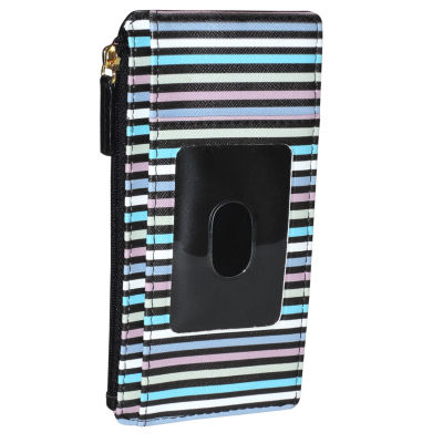 Buxton Rfid Stripped Thin Credit Card Holder