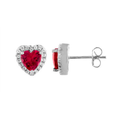 Lab Created Red Ruby Sterling Silver Heart Stud Earrings
