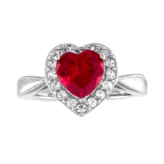 Womens Lab Created Red Ruby Sterling Silver Heart Cocktail Ring